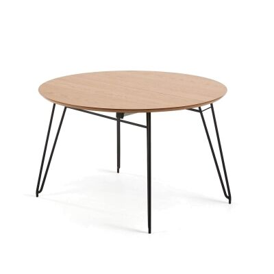 Lorenz Wood & Steel Round Extendable Dining Table, 120-200cm