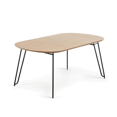 Lorenz Wood & Steel Oval Extendable Dining Table, 140-220cm