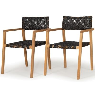 Anabelle Teak Timber Outdoor Dining Armchair, Set of 2