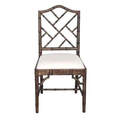 Chippendale Mahogany Timber Dining Chair, Dark Oak