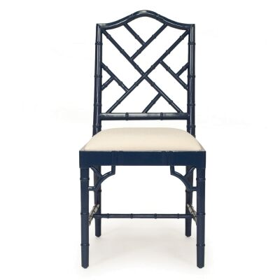 Chippendale Mahogany Timber Dining Chair, Navy
