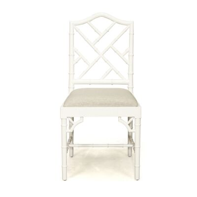 Chippendale Mahogany Timber Dining Chair, White