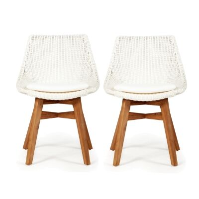 Oceanic Rattan & Teak Timber Outdoor Dining Chair, Set of 2, White / Natural