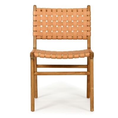 Pasadena Leather Straps & Teak Timber Dining Chair, Toffee / Natural