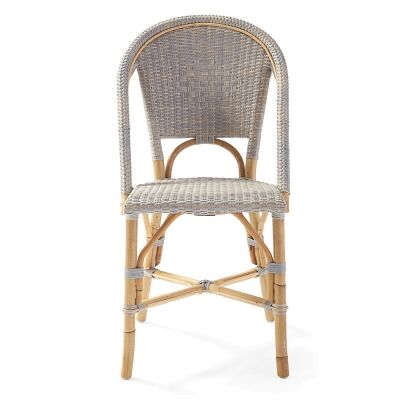 Sorrento Rattan Bistro Dining Chair, Washed Grey