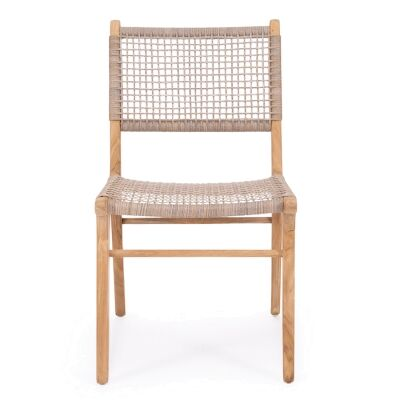 Zan Teak Timber & Woven Cord Dining Chair, Washed Grey / Natural