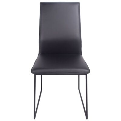 Istria Leather Dining Chair, Black