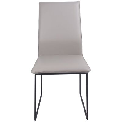 Istria Leather Dining Chair, Pewter