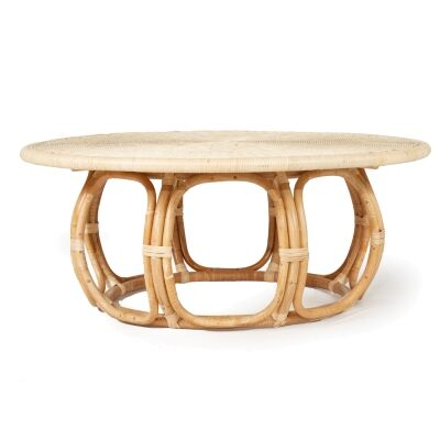 St Lucia Rattan Round Coffee Table, 112cm
