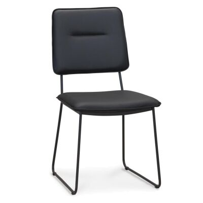Royan Leather Dining Chair, Black