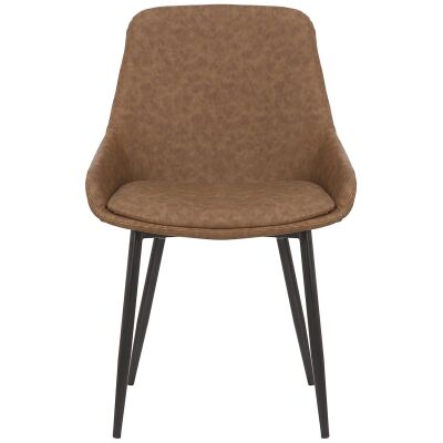 Como Commercial Grade Faux Leather Dining Chair, Brown
