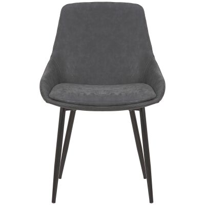 Como Commercial Grade Faux Leather Dining Chair, Charcoal