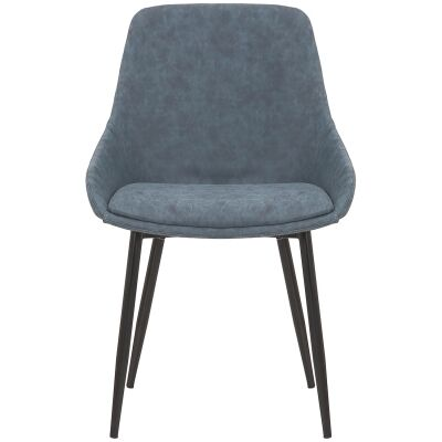 Como Commercial Grade Faux Leather Dining Chair, Navy
