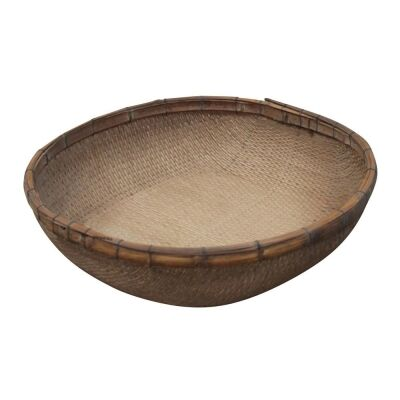 Toril Antique Oriental Bamboo Rattan Tray, Round