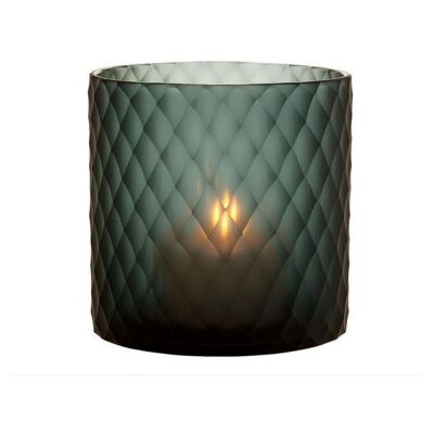 Edward Cut Glass Candle Holder, Small, Green