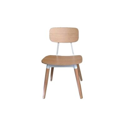 Assens Oak Timber Dining Chair, Natural / White