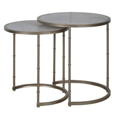 Eclpse 2 Piece Marble Top Metal Nested Table Set