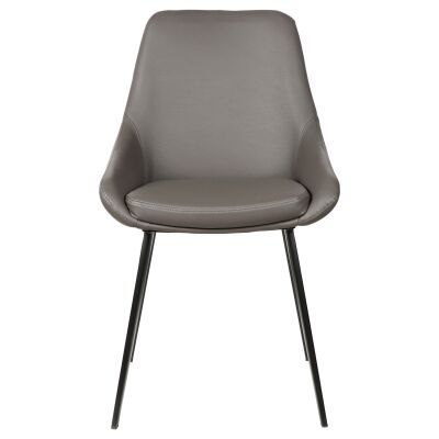 Domo Commercial Grade Faux Leather Dining Chair, Pewter