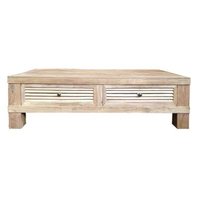 Croix Reclaimed Elm Timber 2 Drawer Coffee Table, 135cm