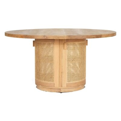 Iluka American Oak Timber & Rattan Round Dining Table, 150cm, Natural