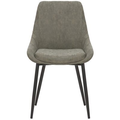 Domo Commercial Grade Faux Leather Dining Chair, Olive Green