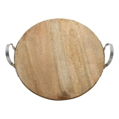 Ecology Arcadian Mango Wood Round Serving Board with Handles