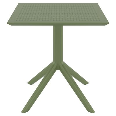 Siesta Sky Commercial Grade Indoor / Outdoor Square Dining Table, 70cm, Olive Green