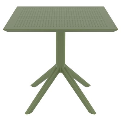 Siesta Sky Commercial Grade Indoor / Outdoor Square Dining Table, 80cm, Olive Green
