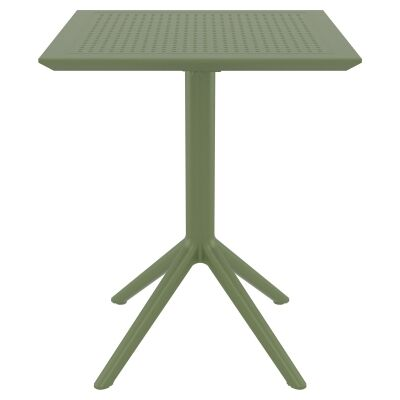 Siesta Sky Commercial Grade Indoor / Outdoor Square Folding Dining Table, 60cm, Olive Green