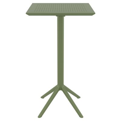 Siesta Sky Commercial Grade Indoor / Outdoor Square Folding Bar Table, 60cm, Olive Green