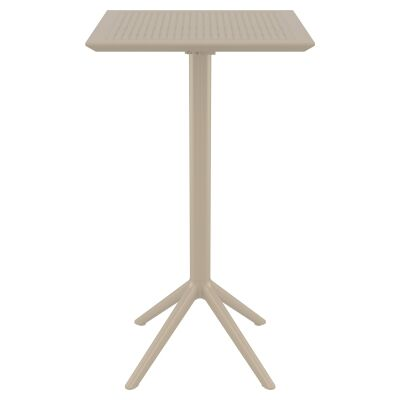 Siesta Sky Commercial Grade Indoor / Outdoor Square Folding Bar Table, 60cm, Taupe