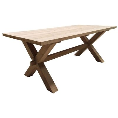 Zambia Recycled Teak Timber Trestle Dining Table, 200cm