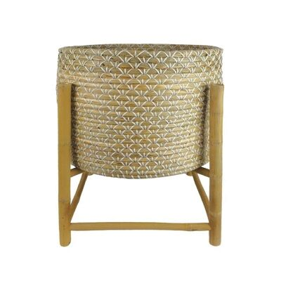 Sioux Seagrass Planter on Bamboo Stand