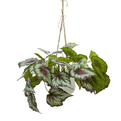 Glamorous Fusion Artificial Wax Begonia in Hanging Pot, 60cm, Red Vein