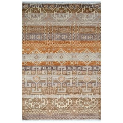 Quest Designer Hand Knotted Wool Rug, 159x229cm, Brown