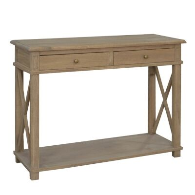 Phyllis Oak Timber 2 Drawer Console Table, 110cm, Weathered Oak