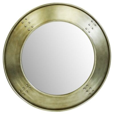 Magnus Metal Framed Round Wall Mirror, 100cm, Aged Brushed Gold