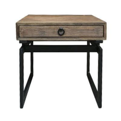 Torano Reclaimed Elm Timber & Iron Side Table