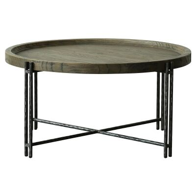 Scarlet Reclaimed Elm Tray Topped Iron Round Coffee Table, 93cm