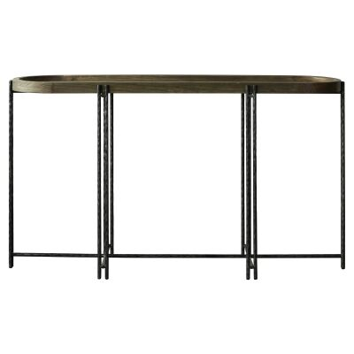 Scarlet Reclaimed Elm Tray Topped Iron Oval Hall Table, 153cm