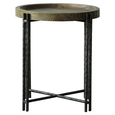 Scarlet Reclaimed Elm Tray Topped Iron Round Side Table