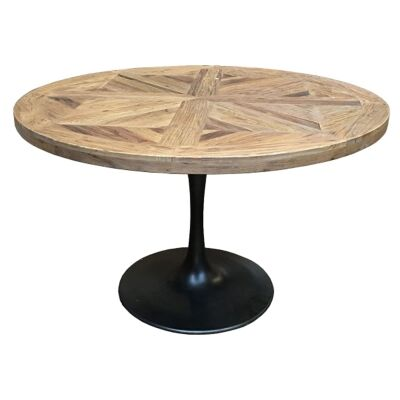 Mason Reclaimed Elm Timber & Iron Round Dining Table, Parquetry Top, 140cm