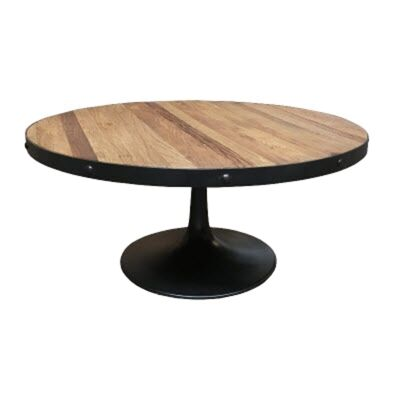 Mason Reclaimed Elm Timber & Iron Round Coffee Table, Parquetry Top, 100cm