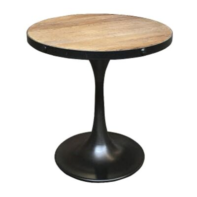 Mason Reclaimed Elm Timber & Iron Round Side Table, Parquetry Top