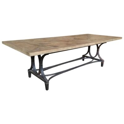 Bourke Reclaimed Elm Timber & Iron Dining Table, 250cm