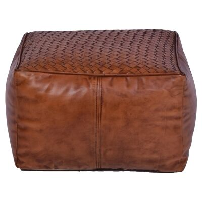 Foret Leather Square Ottoman Pouf