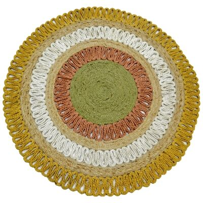 Kecos Hand Woven Jute Round Rug, 120cm, Yellow / White / Red