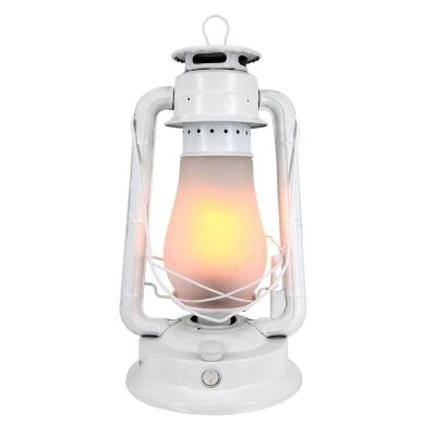 Replica Kerosin Iron & Glass Rechargeable LED Table Lamp, White