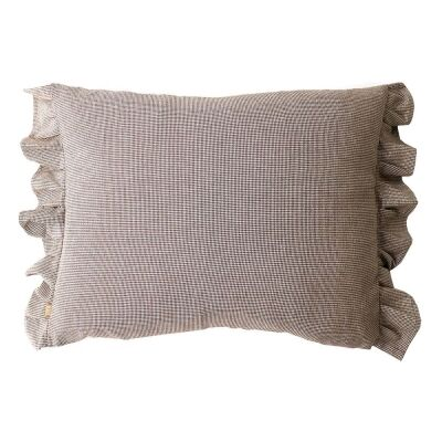 Amelia Feather Filled Cotton Frill Lumbar Cushion, Brown