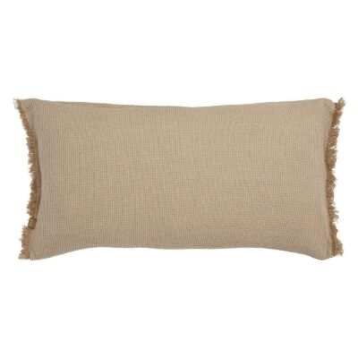 Waffle Feather Filled Chambray Cotton Lumbar Cushion, Taupe